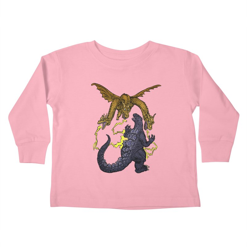 Kaiju Fight Kids Toddler Longsleeve T-Shirt by JB Roe Artist Shop