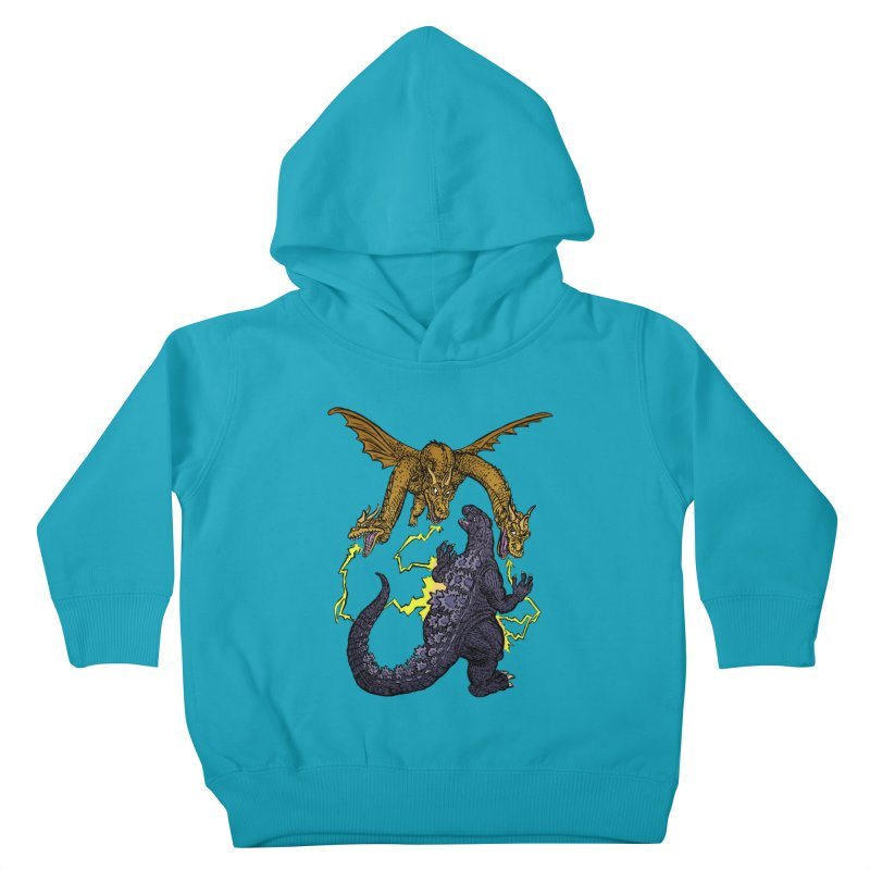 Kaiju Fight Kids Toddler Pullover Hoody by JB Roe Artist Shop