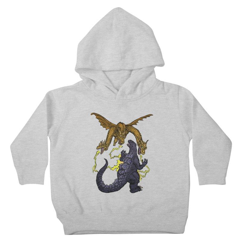 Kaiju Fight Kids Toddler Pullover Hoody by JB Roe Artist Shop