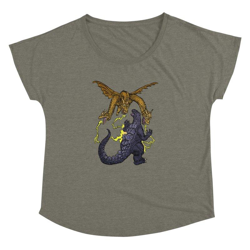 Kaiju Fight Women's Dolman Scoop Neck by JB Roe Artist Shop