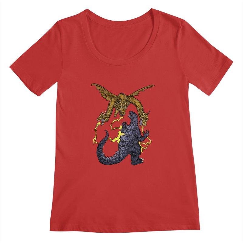 Kaiju Fight Women's Regular Scoop Neck by JB Roe Artist Shop