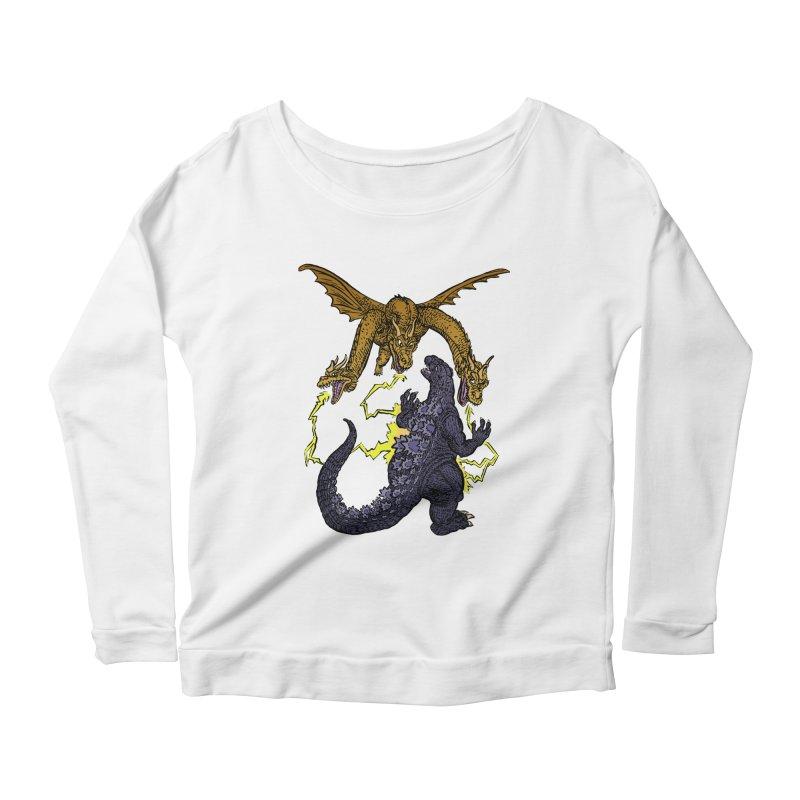 Kaiju Fight Women's Scoop Neck Longsleeve T-Shirt by JB Roe Artist Shop