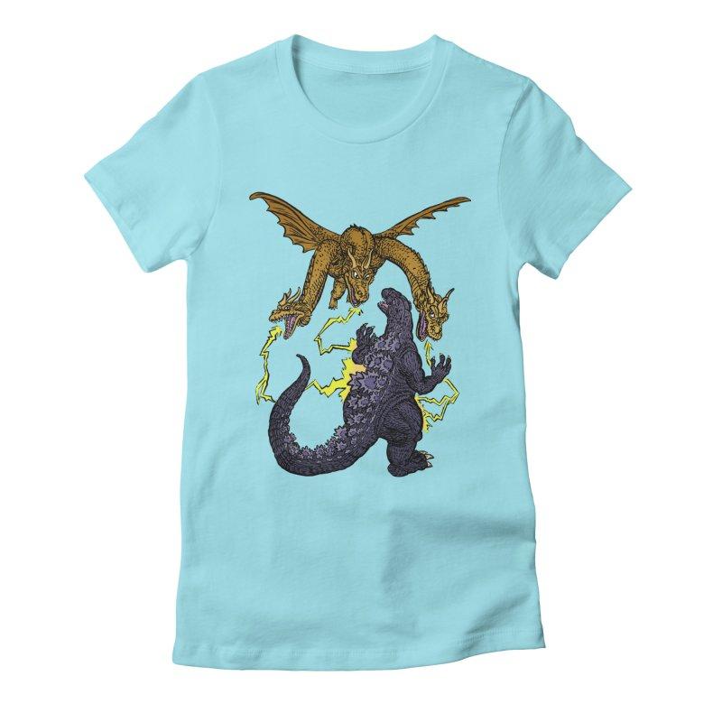 Kaiju Fight Women's Fitted T-Shirt by JB Roe Artist Shop