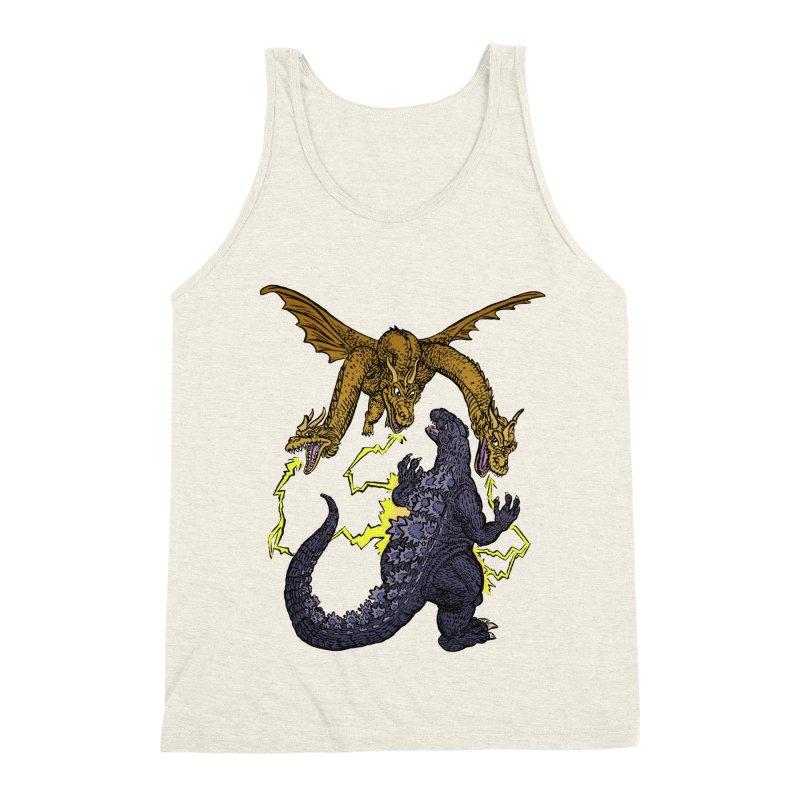 Kaiju Fight Men's Triblend Tank by JB Roe Artist Shop