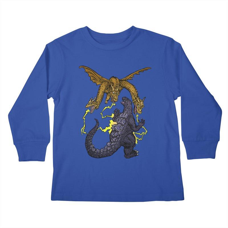 Kaiju Fight Kids Longsleeve T-Shirt by JB Roe Artist Shop