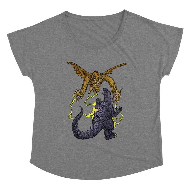 Kaiju Fight Women's Scoop Neck by JB Roe Artist Shop