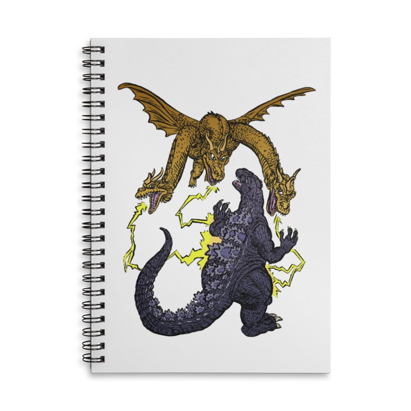 Kaiju Fight Accessories Lined Spiral Notebook by JB Roe Artist Shop