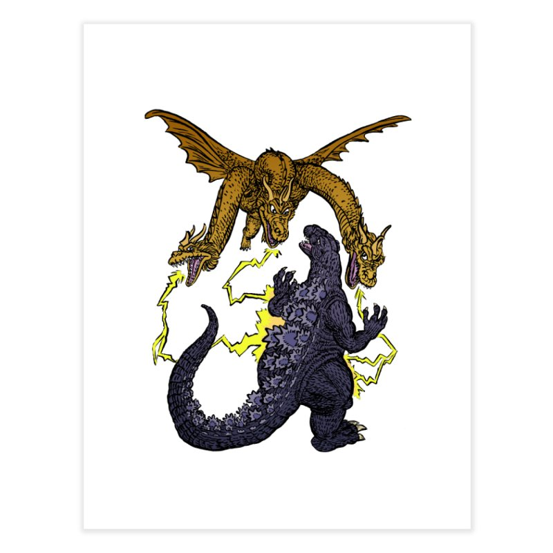 Kaiju Fight Home Fine Art Print by JB Roe Artist Shop