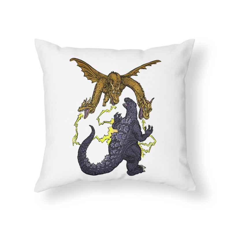 Kaiju Fight Home Throw Pillow by JB Roe Artist Shop
