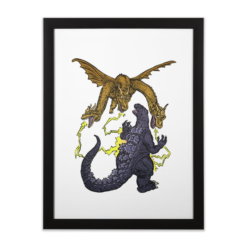 Kaiju Fight Home Framed Fine Art Print by JB Roe Artist Shop