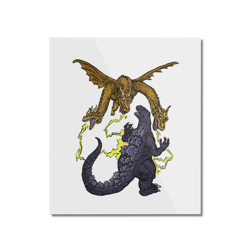 Kaiju Fight Home Mounted Acrylic Print by JB Roe Artist Shop