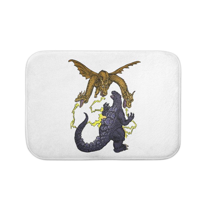 Kaiju Fight Home Bath Mat by JB Roe Artist Shop