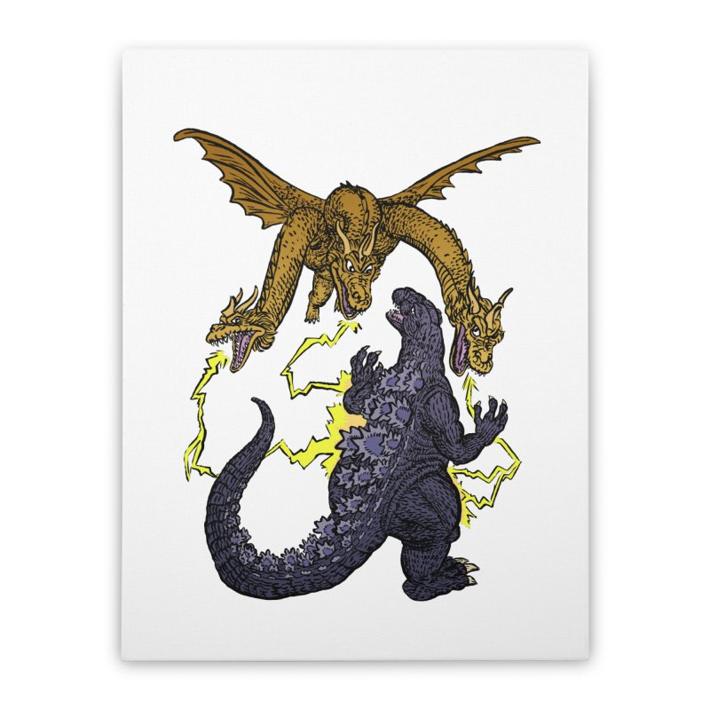 Kaiju Fight Home Stretched Canvas by JB Roe Artist Shop