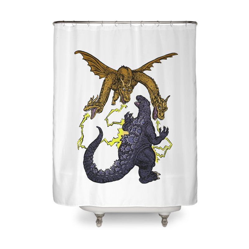 Kaiju Fight Home Shower Curtain by JB Roe Artist Shop