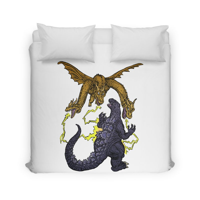 Kaiju Fight Home Duvet by JB Roe Artist Shop