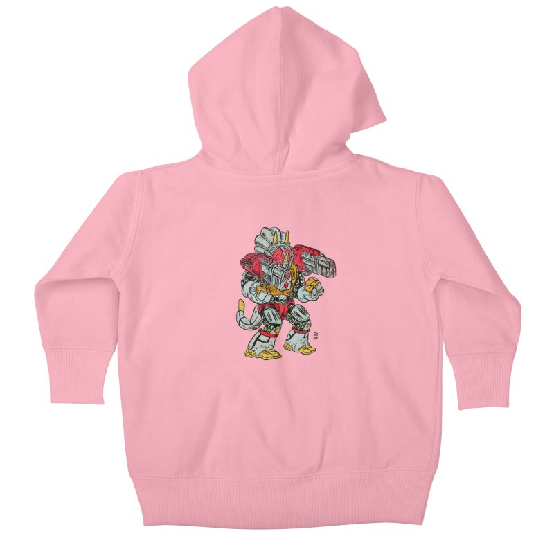 Tricera-Tank Kids Baby Zip-Up Hoody by JB Roe Artist Shop