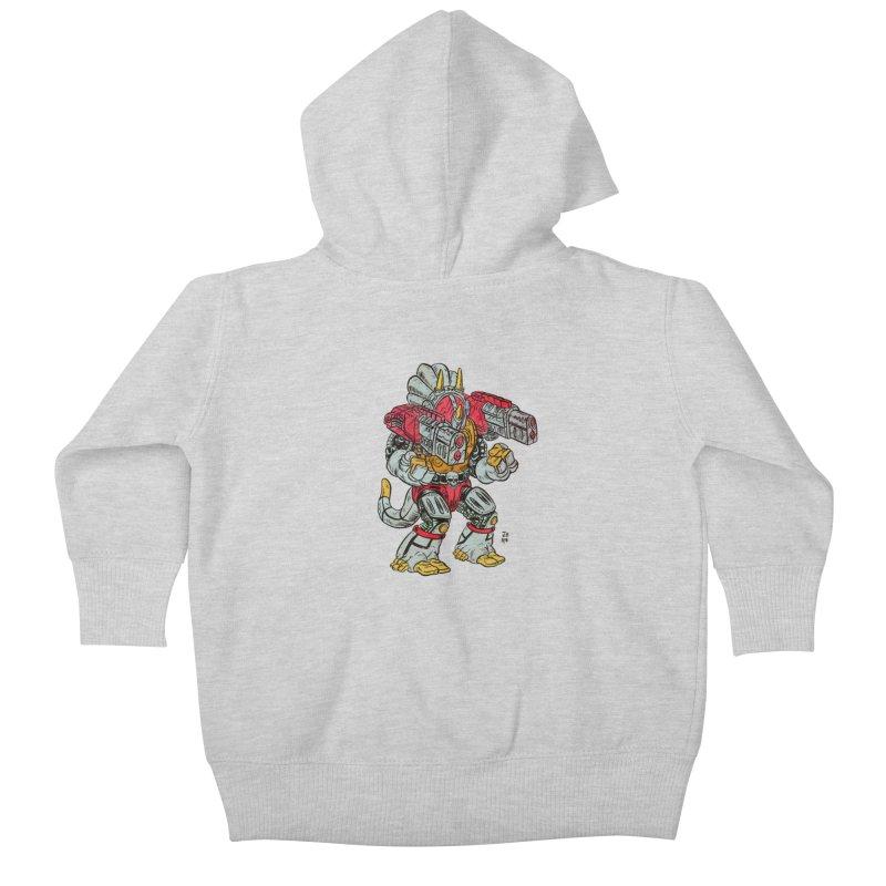 Tricera-Tank Kids Baby Zip-Up Hoody by JB Roe Artist Shop