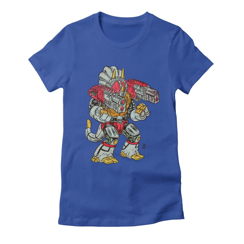 Tricera-Tank Women's Fitted T-Shirt by JB Roe Artist Shop