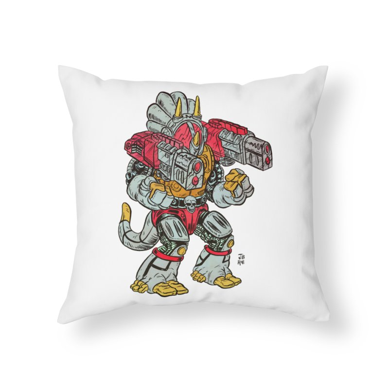 Tricera-Tank Home Throw Pillow by JB Roe Artist Shop
