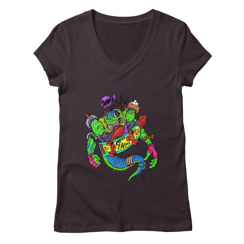 M Gecko Women's V-Neck by JB Roe Artist Shop
