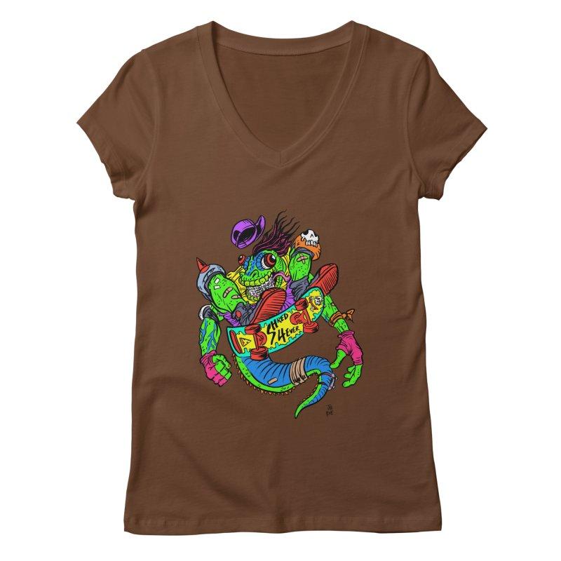 M Gecko Women's Regular V-Neck by JB Roe Artist Shop