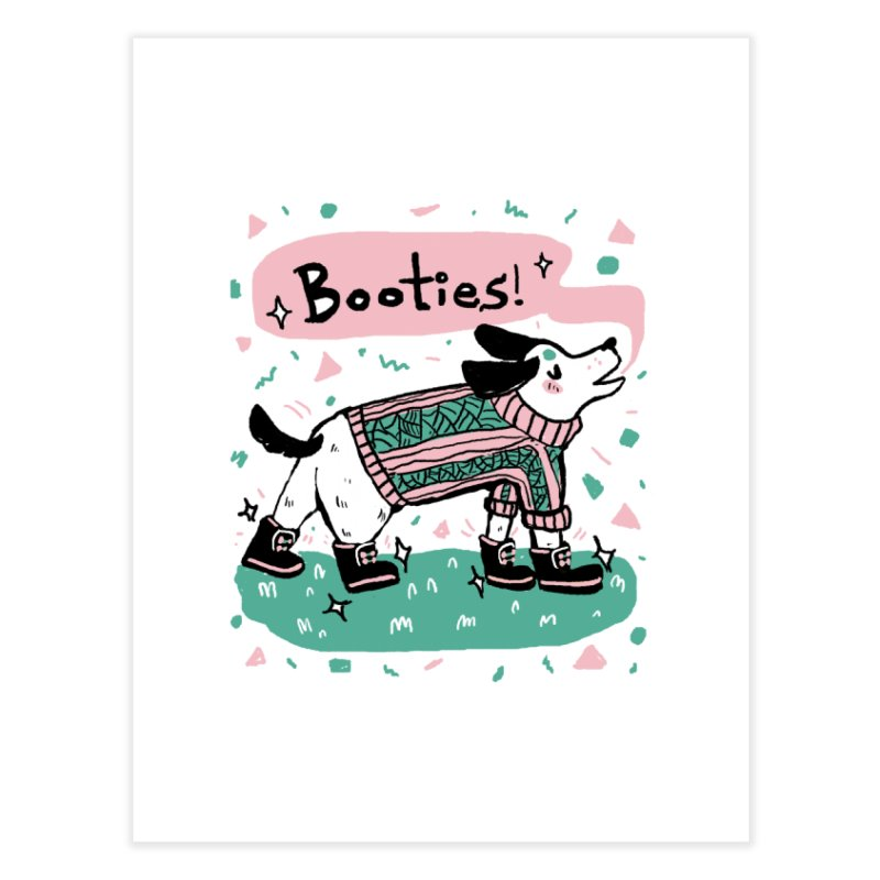 B-B-B-Booties Pup Home Fine Art Print by Jen Chan's Shop