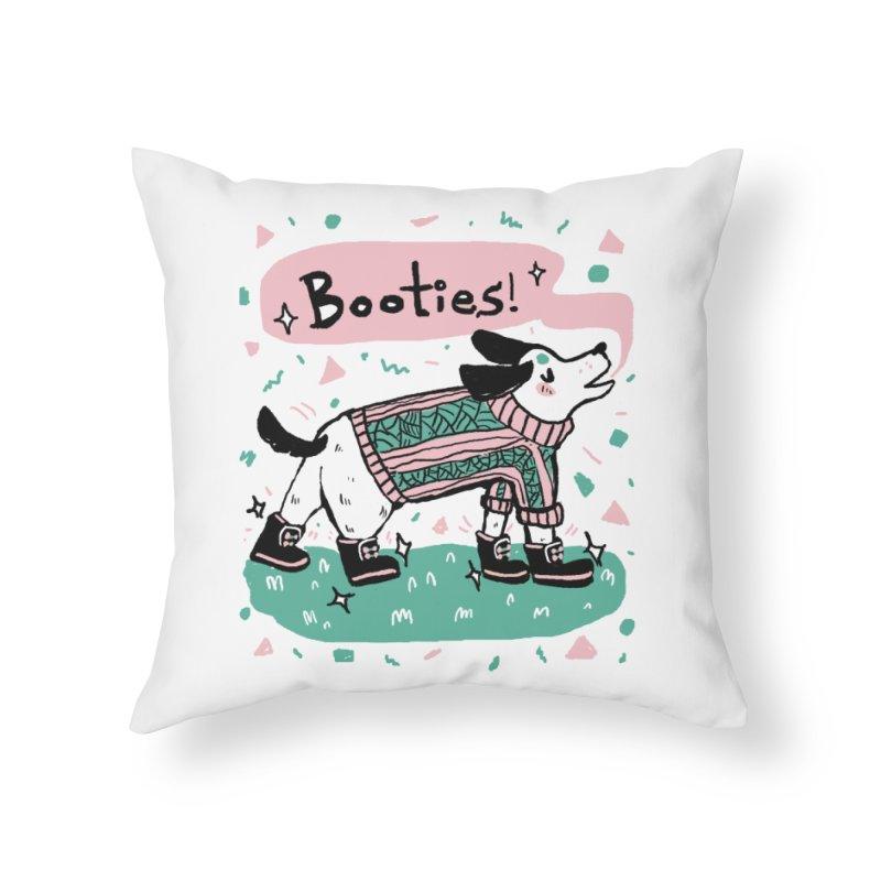 B-B-B-Booties Pup Home Throw Pillow by Jen Chan's Shop