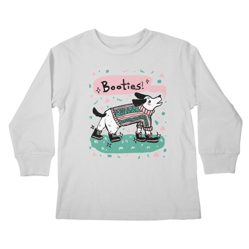 B-B-B-Booties Pup Kids Longsleeve T-Shirt by Jen Chan's Shop