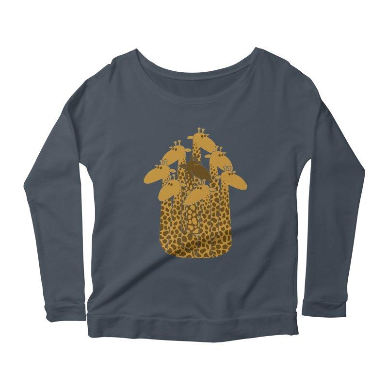 The black giraffe of the family. Women's Longsleeve Scoopneck  by JCMaziu shop