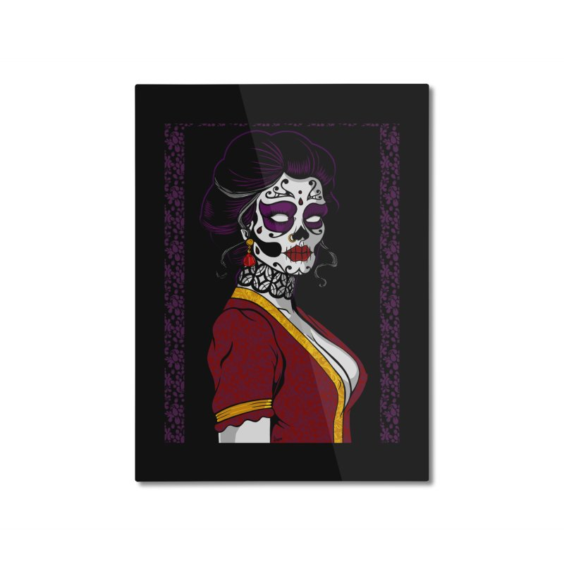 Sugar Skull Home Mounted Aluminum Print by The Art of JCooper