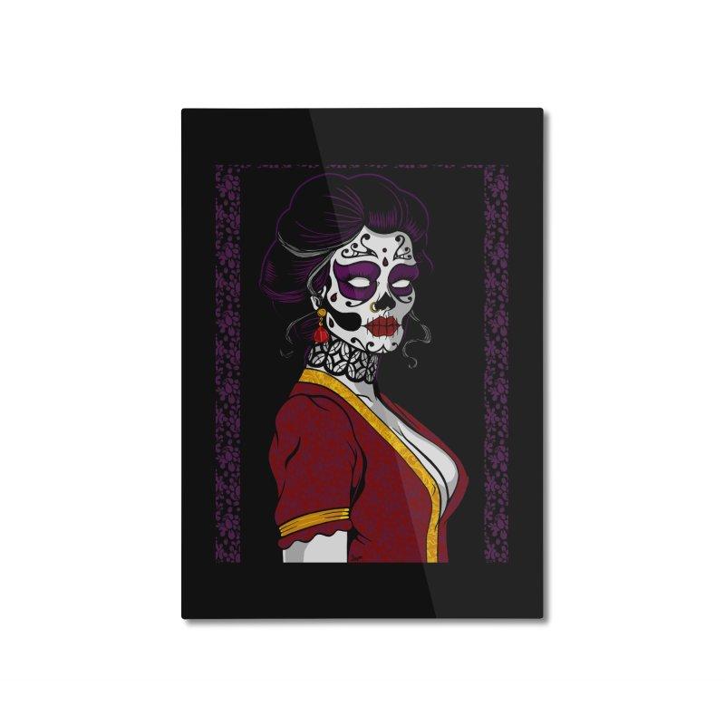 Sugar Skull Home Mounted Aluminum Print by The Art of JCooper