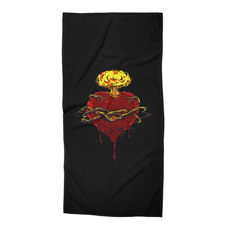 Exploding Heart Accessories Beach Towel by The Art of JCooper