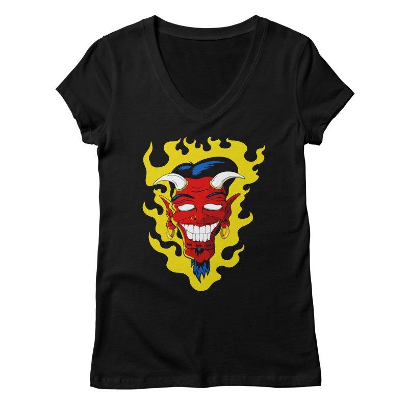 Devil Women's V-Neck by The Art of JCooper