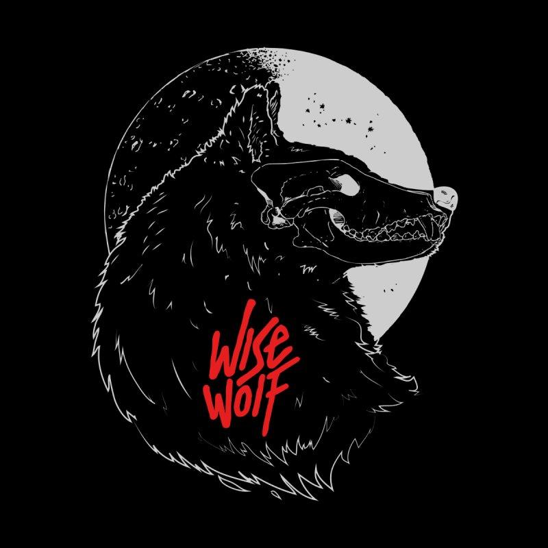 Wise Wolf Black Men's Pullover Hoody by Rebel Mulata