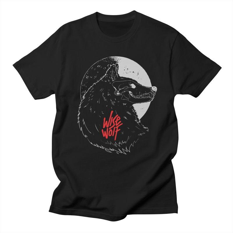 Wise Wolf Black Men's Regular T-Shirt by Rebel Mulata