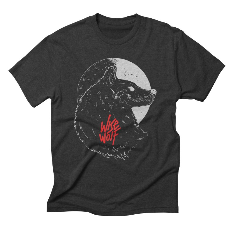 Wise Wolf Black in Men's Triblend T-Shirt Heather Onyx by Rebel Mulata