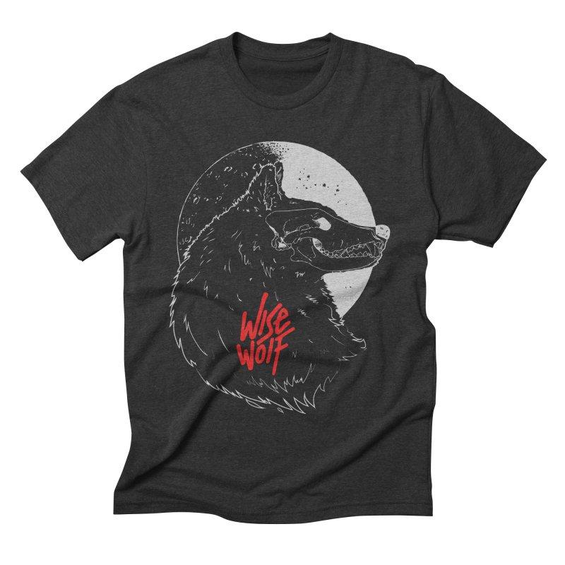 Wise Wolf Black in Men's Triblend T-shirt Heather Onyx by Rebel Mulata