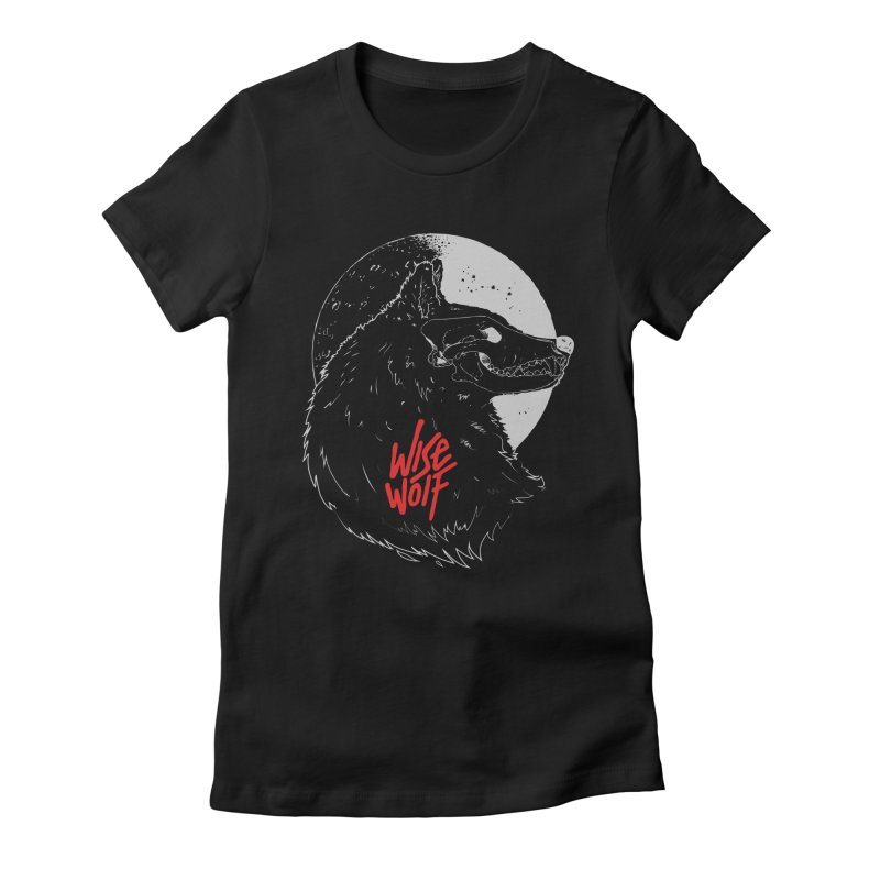 Wise Wolf Black Women's Fitted T-Shirt by Rebel Mulata