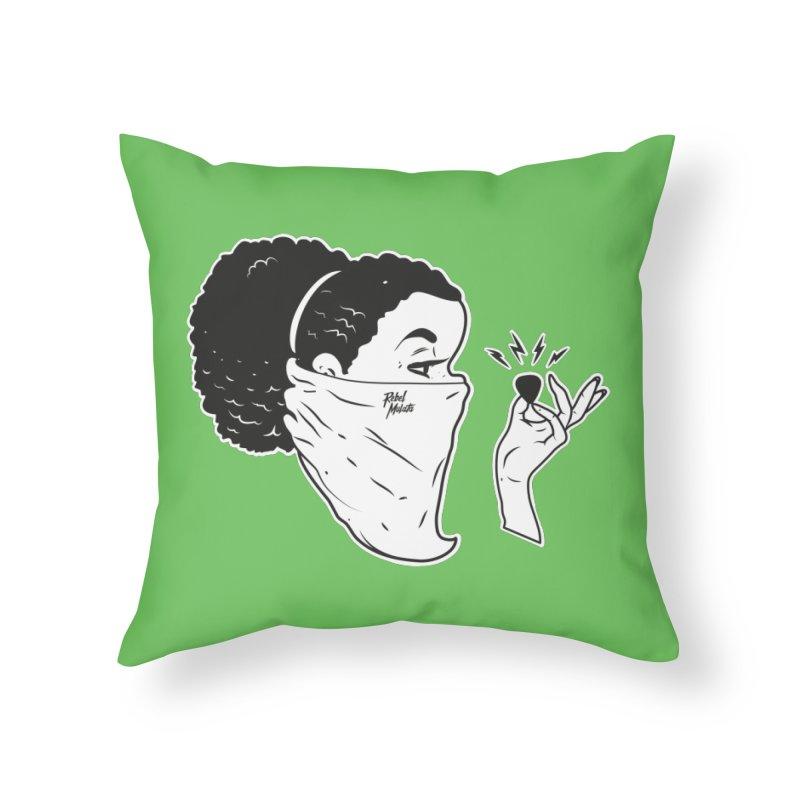 Señorita Riot Home Throw Pillow by Rebel Mulata
