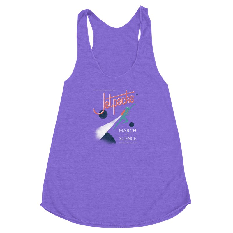Why Support Science?  Jetpacks! Women's Racerback Triblend Tank by J D STONE