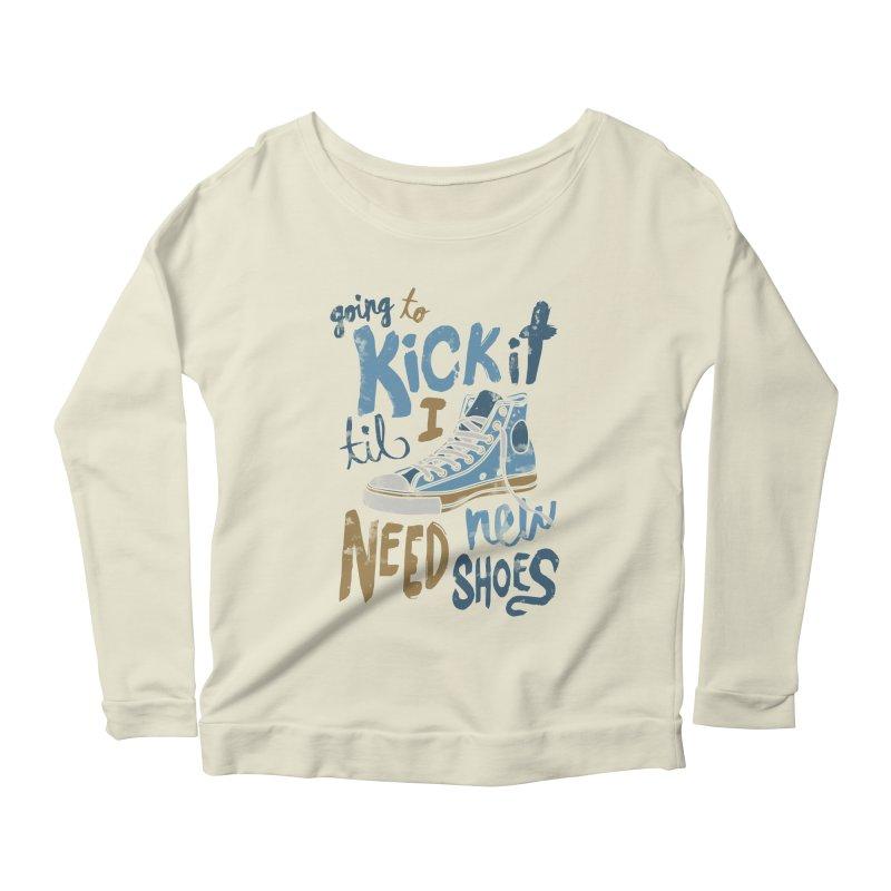 Kick It Women's Longsleeve Scoopneck  by J D STONE