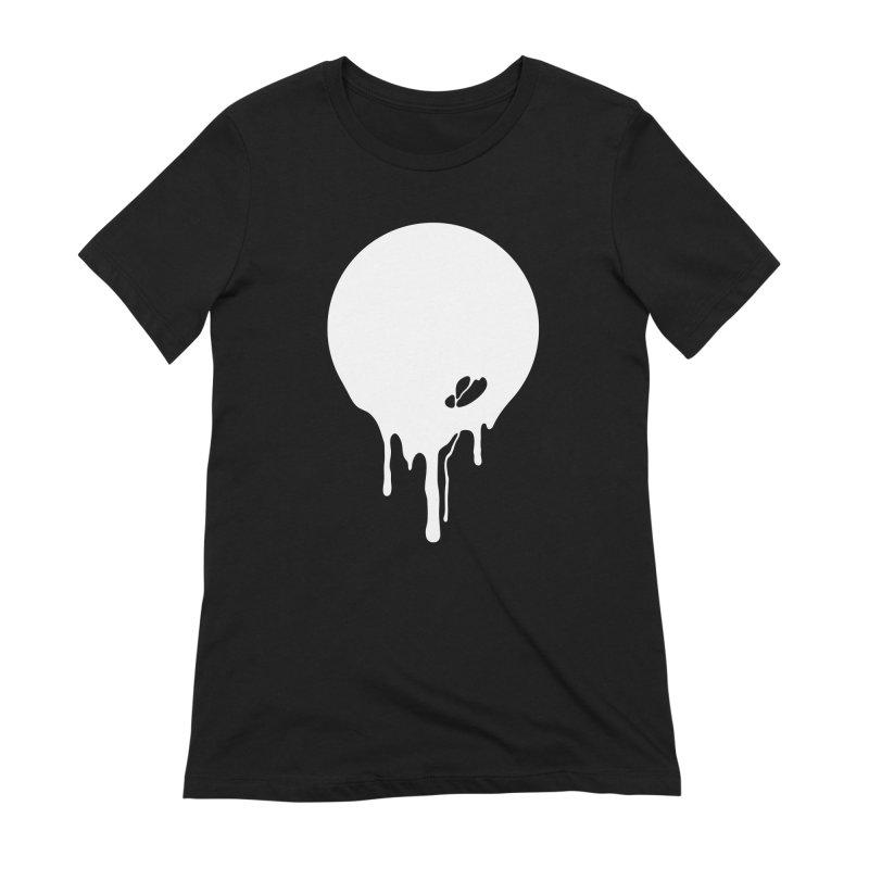 Moon Drip White Women's Extra Soft T-Shirt by Jean Goode's Artist Shop