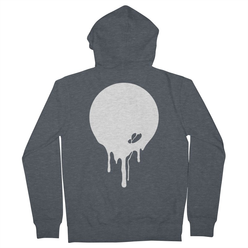 Moon Drip White Women's French Terry Zip-Up Hoody by Jean Goode's Artist Shop