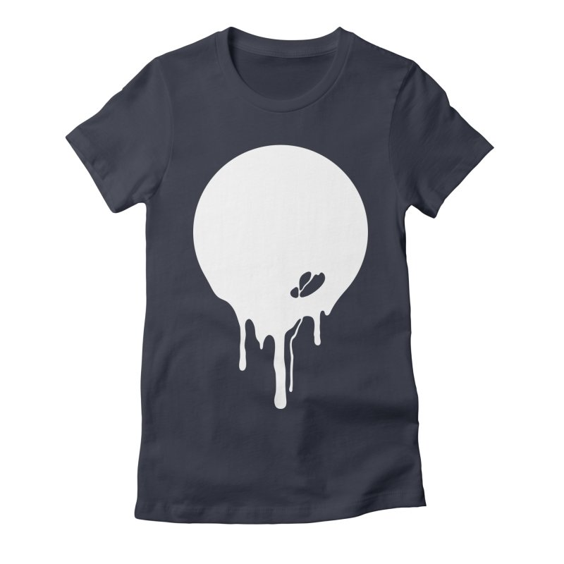 Moon Drip White Women's Fitted T-Shirt by Jean Goode's Artist Shop