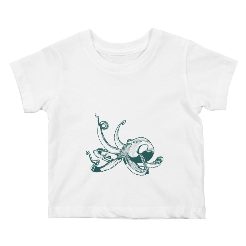Angry Octi Kids Baby T-Shirt by Jeannie Hart's Thread Shop