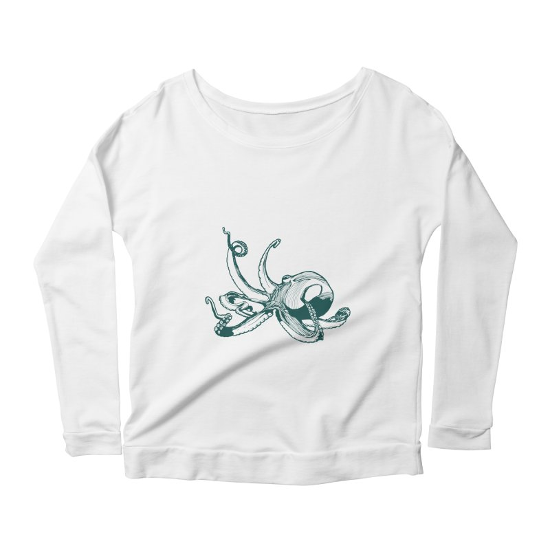 Angry Octi Women's Longsleeve Scoopneck  by Jeannie Hart's Thread Shop