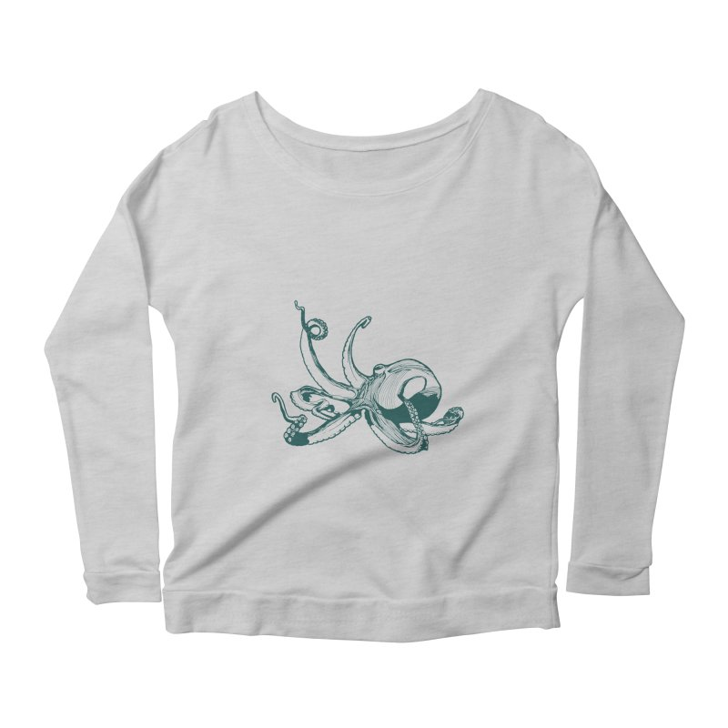 Angry Octi Women's Scoop Neck Longsleeve T-Shirt by Jeannie Hart's Thread Shop