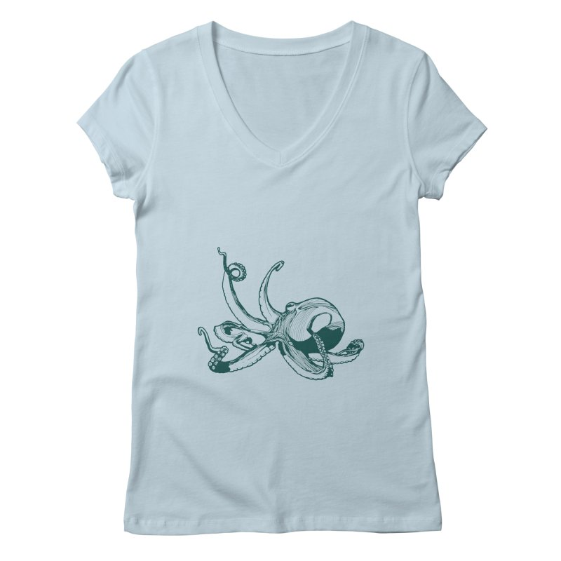 Angry Octi Women's Regular V-Neck by Jeannie Hart's Thread Shop