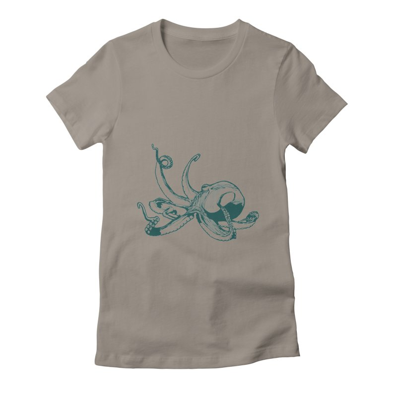 Angry Octi Women's Fitted T-Shirt by Jeannie Hart's Thread Shop