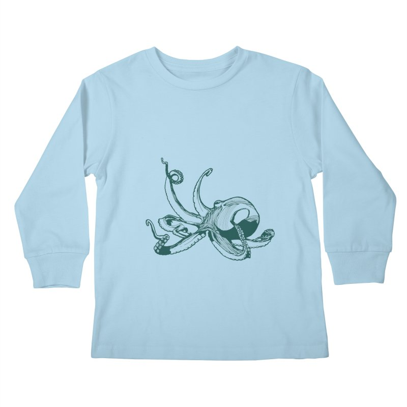 Angry Octi Kids Longsleeve T-Shirt by Jeannie Hart's Thread Shop
